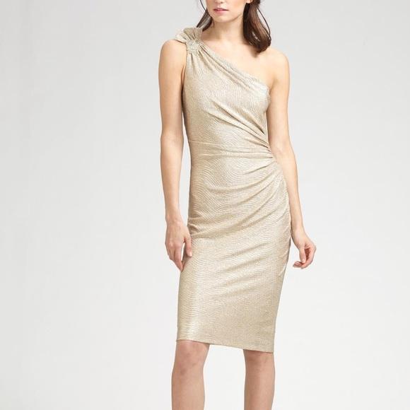 David Meister Dresses | Nwt Metallic One Shoulder Dress | Poshmark